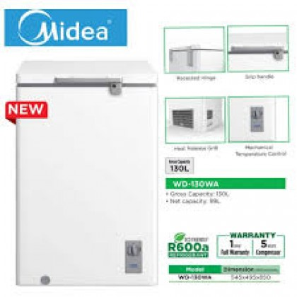 Midea WD-130WA 130L (Net 99L) Chest Freezer R600a Refrigerant WD130WA